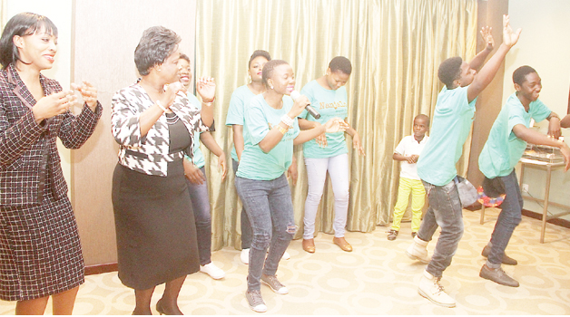 •FIRST Lady Esther Lungu joins in a dance during the official launch of the 'Nanjalo' song which promotes the fight against early marriages. This was in Lusaka yesterday. Picture by THOMAS NSAMA/STATE HOUSE