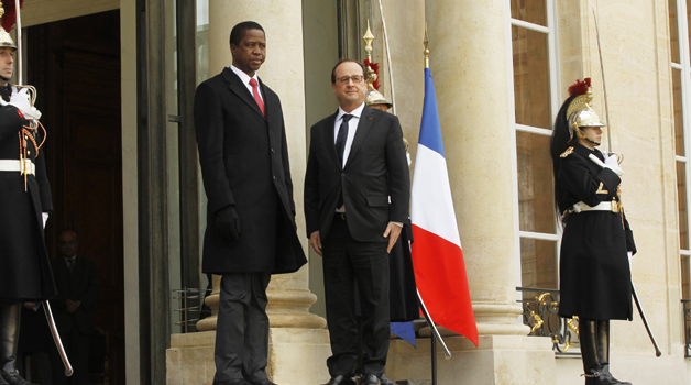 • PRESIDENT Edgar Lungu (left) with French President Francois Hollande (center) at Elysee Palace in Paris, France yesterday. Picture by SALIM HENRY/STATE HOUSE
