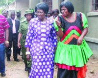 • VICE-PRESIDENT Inonge Wina (center) is shown the newly constructed Kaminzenkenzeke High School in North-Western Province, by Mufumbwe District Commissioner Emmah Mankishi (right), during a visit at the site on Sunday. Picture by BETRAM KAOMA / ZANIS