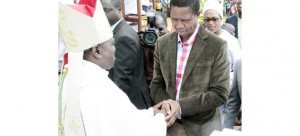 • PRESIDENT Edgar Lungu congratulates Bishop Justin Mulenga in Mpika yesterday. Picture by ROYD SIBAJENE/ZANIS