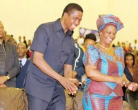 • PRESIDENT Lungu and First Lady, Esther, during the 15th anniversary of the Bible Gospel Church in Africa at the Olympic Youth Development Centre in Lusaka yesterday.  Picture courtesy of STATE HOUSE