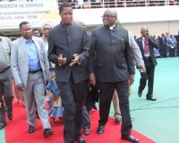 • PRESIDENT Lungu with Speaker of the National Assembly Patrick Matibini (right) during commemoration of the Golden Jubilee for Reformed Church in Zambia at  Heroes stadium in Lusaka  yesterday. Picture by JOSEPHINE NSULULU/ZANIS