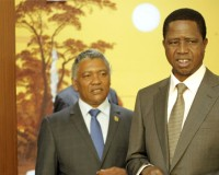 • PRESIDENT Edgar Lungu (right) with Agriculture Minister Given Lubinda before the start of the special Cabinet meeting  at the Mulungushi International Conference Centre in Lusaka yesterday.  Picture by SALIM HENRY/STATE HOUSE