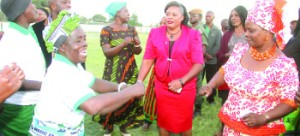 •FIRST Lady Esther Lungu  (right) joins in a dance on arrival in Choma during the Outreach Programme for people with special needs in Southern Province. Picture by THOMAS NSAMA