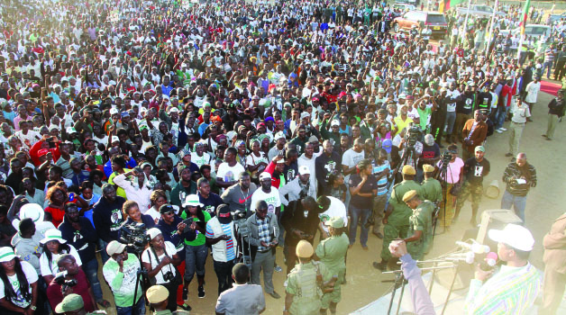 •PRESIDENT Lungu addresses a rally in Rufunsa yesterday - Picyure By THOMAS NSAMA/STATE HOUSE