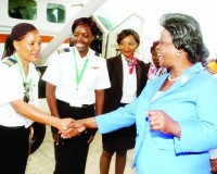 •FIRST Lady Esther Lungu with female pilots during the launch of the Women in Aviation Zambia Chapter at Kenneth Kaunda  International Airport in Lusaka yesterday. Picture by THOMAS NSAMA/STATE HOUSE
