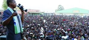 • PRESIDENT Lungu addresses a rally in Kapiri Mposhi yesterday. Picture by SALIM HENRY/STATE HOUSE