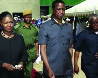 •President Edgar Lungu (centre) accompanied by Minister of Commerce,Trade and Industry Margaret Mwanakatwe (left)  and Southern Province Minister Nathaniel Mubukwanu (right) leaves Nakambala Sugar Estate after commissioning an US$80 Million Refinery plant yesterday in Mazabuka.  Picture by SALIM HENRY/STATE HOUSE