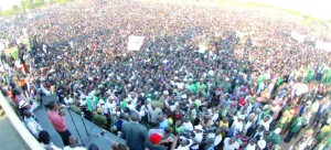 •President Edgar Chagwa Lungu addresses a rally in Mansa yesterday. Picture by SALIM HENRY/STATE HOUSE