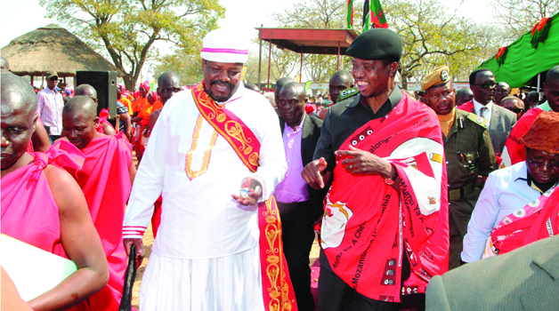 • President-ELECT Lungu (right) with Kalonga Gawa Undi during the Kulamba traditional ceremony yesterday. Picture by ROYD SIBAJENE/ZANIS
