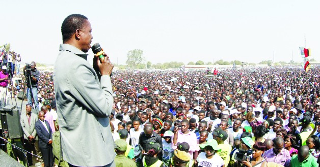• President Edgar Lungu (left) addresses a  rally  in Chifubu Constituency of Ndola yesterday.  PICTURE by SALIM HENRY/STATE HOUSE