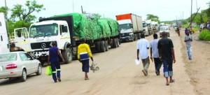 • CARGO trucks marooned at the Kazungula Border in Kazungula, Southern Province, captured yesterday. Picture By BRIAN HATYOKA