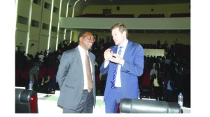 •FIFA Member Associations Manager Luca Nicola confers with FAZ President Andrew Kamanga during yesterday's FAZ ECM held at Government Complex in Lusaka. Picture by Jean Mandela.
