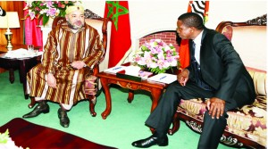 •PRESIDENT Edgar Lungu (right) with King Mohammed VI of Morocco during bilateral talks at State House in Lusaka yesterday. Picture by EDDIE MWANALEZA/STATE HOUSE