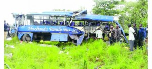 • THE wreckage of the Mazhandu Family Bus Services bus that claimed 10 lives at Green Leaf in Kapiri Mposhi. Picture by SYLVESTER MWALE