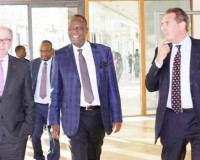 • LEFT to right: European Investment Bank (EIB) Deputy Director General Patrick Walsh,  Zambia's Minister of Finance Felix Mutati and EIB Head of Division - Country Relations and Sub-Saharan Africa Diedrick Zambon .