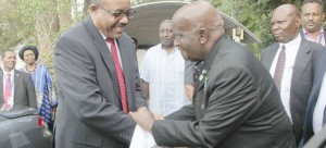 •Ethiopian Prime Minister Mr Hailemariam Dessalegn (left) bids farewell to first Republican President Kenneth Kaunda after calling on him at his office in Kabulonga, Lusaka yesterday.  Picture by GOODSON LUPIYA/ZANIS