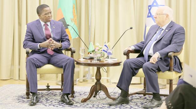 •PRESIDENT Edgar Lungu during talks with Israeli President Reuven Rivlin (right) in Jerusalem yesterday. Picture by EDDIE MWANALEZA/STATE HOUSE