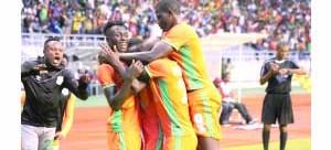 • CAF JOY: Zesco United players celebrate their third goal by Jesse-Jackson Were against Enugu Rangers yesterday at  Levy Mwanawasa Stadium.