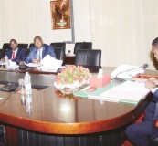 PRESIDENT Edgar Lungu during the submission of ministerial quarterly reports from Copperbelt Minister Bowman Lusambo with his Permanent Secretary, Elias Kamanga, along with others, at State House yesterday. Picture by THOMAS NSAMA/STATE HOUSE