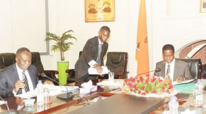 • PRESIDENT Edgar Lungu during the presentation of the ministerial quarterly reports from Finance Minister Felix Mutati (left) at State House yesterday. Picture by SHABBY MULOPWE/ZANIS