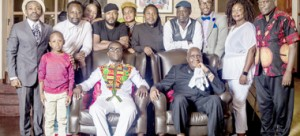 •ZAMBIA  Association of Musicians president, Njoya Tembo sits next to first Republican President Kenneth Kaunda during the musicians' visit to Zambia's founding father's State Lodge home in Lusaka.  Picture by courtesy of ZAM