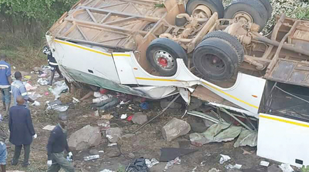 • THE flipped Scania Marcopolo bus belonging to Kapena Bus Services that claimed the lives of 19 passengers in Kacholola area on the Great East Road in a road accident on Tuesday.