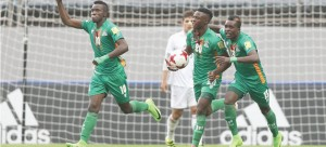 • FASHION Sakala #10 celebrates his opening goal with teammates Patson Daka #20 and Shemmy Mayembe #13 during yesterday's FIFA World Cup match against Iran at Jeju World Cup Stadium in South Korea.  Picture courtesy of FIFA via GETTY IMAGES