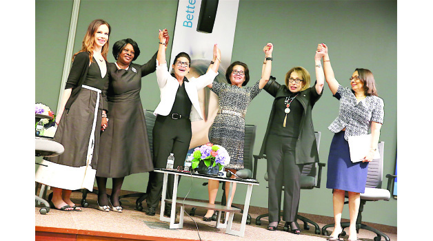 • L-R: Former United States President George W Bush's daughter Barbara, Zambia's First Lady Esther Lungu, Starkey Hearing Foundation co-founder Tani Austin, First Lady of Co-operative Republic of Guyana Sandra Granger, International Federation for Peace and Sustainable Development co-founder Sally Kader and Jamaica's Minister of Labour and Social Security Shahine Robinson during the panel of discussion at Starkey Hearing Foundation Headquarters in Minnesota, US on Saturday. Picture by THOMAS NSAMA.
