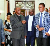 •  PRESIDENT Lungu (second from right) shares a light moment with ZCCB president Telesphore Mpundu (far left), Ndola Diocese Bishop Alick Banda (centre) and President Lungu's Assistant for Press and Public Relations Amos Chanda. Picture By EDDIE MWANALEZA.