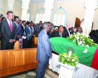 • PRESIDENT Edgar Lungu and First Lady Esther yesterday joined hundreds of mourners during the requiem mass held in honour of late former Health minister Joseph Kasonde at Saint Ignatius Catholic Church in Lusaka.  Pictures by THOMAS NSAMA/STATE HOUSE