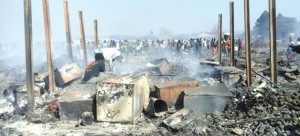 •Various items were reduced to rubble.