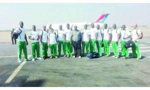 • The Zambia Sevens rugby team at Kenneth Kaunda International Airport (KKIA) before departure for Lesotho for the Maseru Sevens tournament aboard Proflight via Durban yesterday. Picture courtesy Zambia Rugby Union.