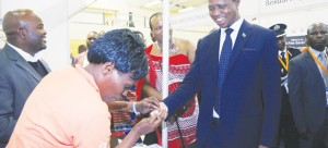 • PRESIDENT Edgar Lungu (right) undergoes HIV testing as Swaziland's King Mswati III (centre) looks on during the tour of stands at the 49th Swaziland International Trade Fair at Mavuso Exhibition and Trade Centre in Manzini, Swaziland  on Saturday. Picture By SALIM HENRY/STATE HOUSE