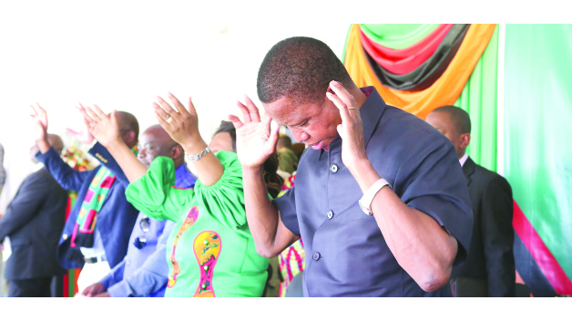 • PRESIDENT Edgar Lungu during the National Day of Prayer and Fasting in Kitwe yesterday. Picture By EDDIE MWANALEZA