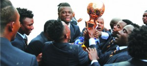 • Zesco players hoist the trophy at Levy Levy Mwanawasa Stadium in Ndola yesterday