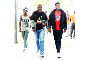 • ORIENTAL Quarries Boxing Promotions Director Promotions Christopher Malunga (in the middle) with Africa Boxing Union (ABU) Champion Alfred Muwowo (left) and Mbiya Nkanku walking into the Topstar building ahead of the briefing on Wednesday. Picture By GODFREY DUBE