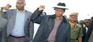 .President Lungu (with a cape) with Lusambo (left)