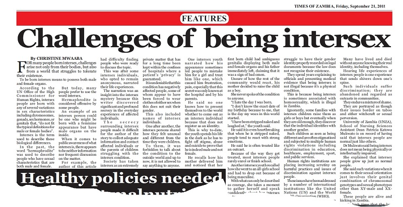 Times Of Zambia Challenges Of Being Intersex