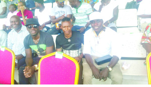 �Kennedy Mweene, Rainford Kalaba and Chisamba Lungu watched from the terraces as Zambia lost 1-0 to Togo yesterday.